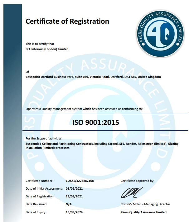 SCL London receive ISO certifications